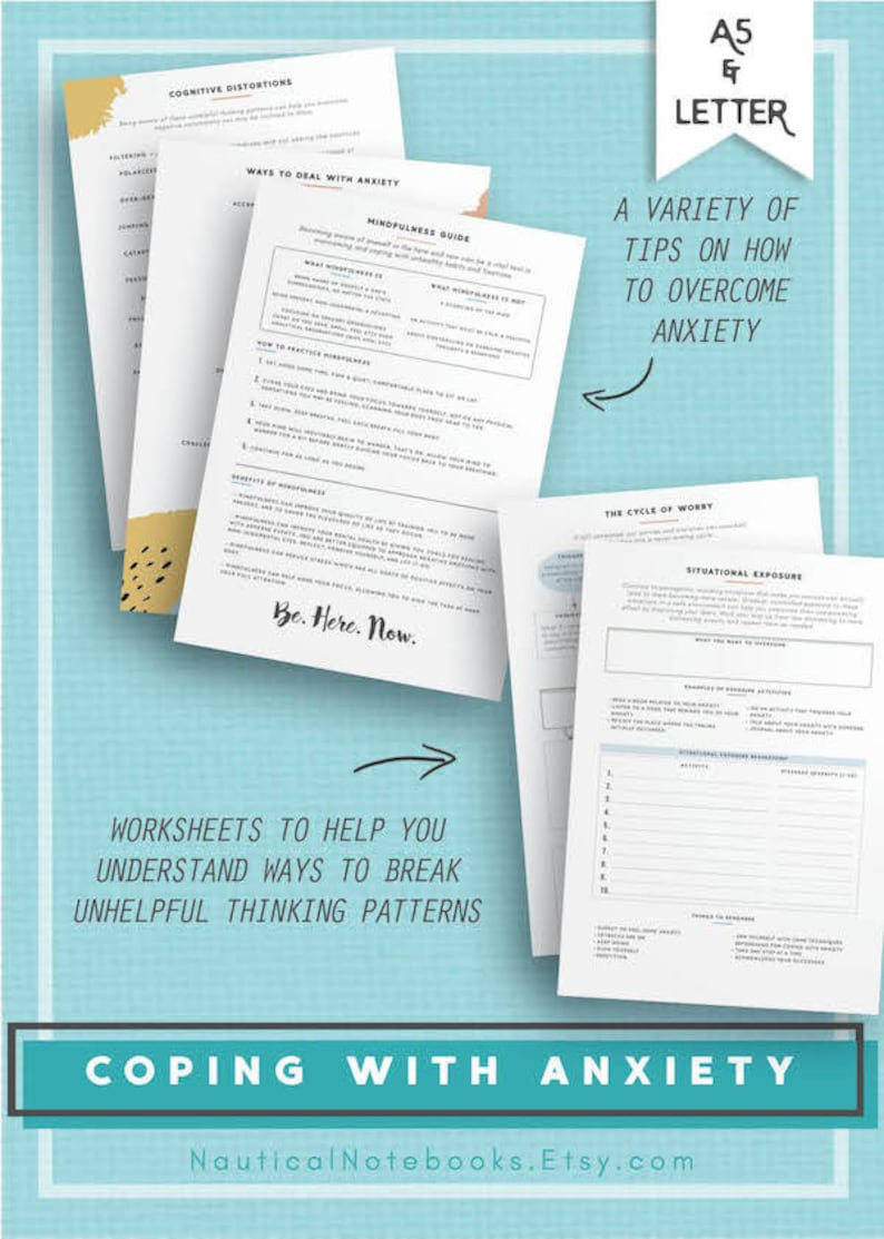 Anxiety Mental Health Journal Printable Therapy Worksheet ...