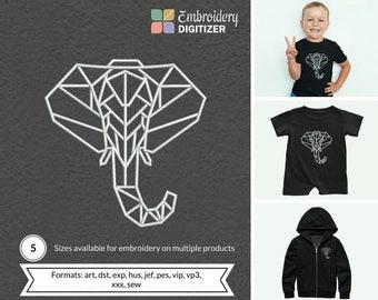 194b9c712 Geometric Elephant Embroidery Design
