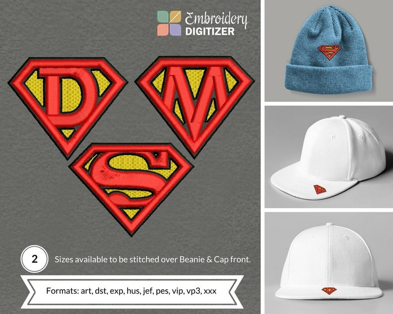 Superman logo Letter D,S,M 3D Puff CAP & Normal Embroidery Design - 3  Designs Family Combo Pack