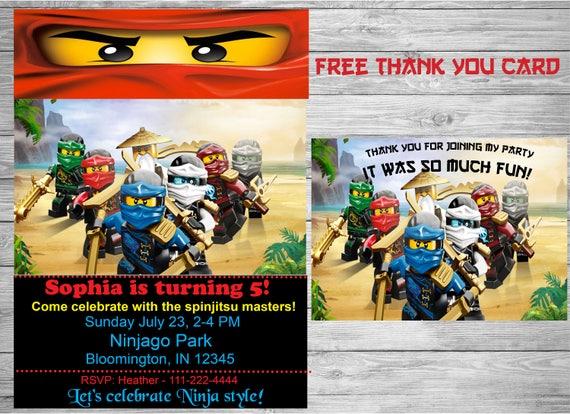Ninjago Urodziny Zaproszenie Darmowe Podziękowania Karty Etsy