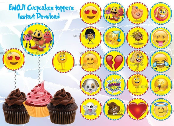 Emoji Cupcakes Toppers Party Birthday