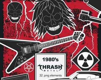 80's Thrash Metal Clipart. Heavy Metal Clipart. Hard Rock. Retro. PNG. 32 elements