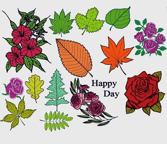 14 flowers & leaves embroidery digital  files vp4,vp4,vip,hus,pes,pec,pcs,xxx,jef,dst,sew,exp,10o instant download