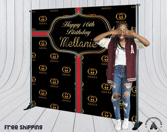 156e93db Gucci inspired theme party backdrop - Step & Repeat Backdrop for Sweet 16  Birthday, Event Backdrop, Quick Turnaround, 48Hrs