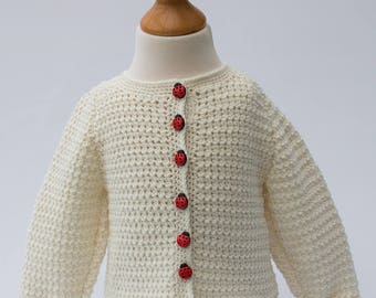 Crochet cardigan/jacket with ladybird button detail