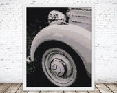 Peyote Painting Seed Bead pattern Old Timer White Mercedes Tire | Do It Yourself