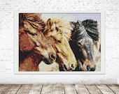Peyote Tapestry Painting Seed Bead | PDF Pattern | Even Count Seed Bead pattern 3 horses brown Iceland Horses | Do It Yourself