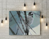 Peyote Painting Seed Bead pattern Winter bird in snow land on tree branch | Do It Yourself