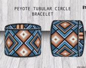 Circular Peyote Bracelet Tubular pattern Blue Brown Jeans  | Do It Yourself