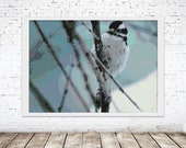 Peyote Tapestry Painting Seed Bead | PDF Pattern | Seed Bead pattern Winter bird in snow land on tree branch | Do It Yourself