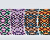 Peyote Pattern Uneven Count | Purple, Blue and Brown, Pink and Green shades, Red and green shades bracelet Miyuki Delica size 11 seed beads