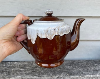Ceramic Teapot, Kettle, Brown Brown Glazed, White Drip, Vintage, Made in Japan, Farmhouse, Fall Home Decor, Pottery