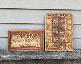 Engraved, Vintage Last Supper & Ten Commandments Plaque, Wall Hanging, Art, Multi Products Inc. Decor, Christian, Church, Catholic, Orthodox