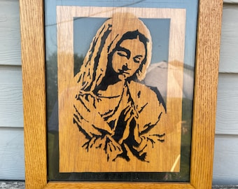 Vintage Framed Wood Carved Mother Mary Art Piece, Engraved, Catholic, Orthodox, Church, Antique, Handmade, Religious Decor, Wall Hanging