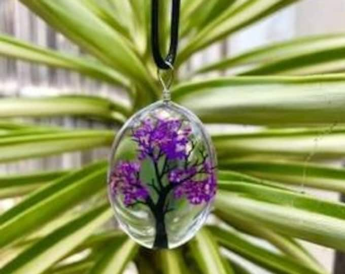 Retro Tree Of Life Dried Flower Pendant valentines day gift Gift Dried Flower Necklace Gift For Mum Gift For Grandmother