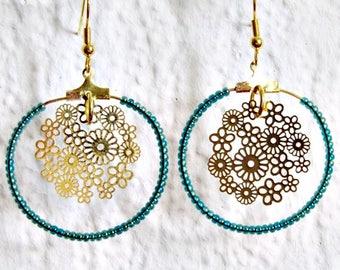 Fancy flower hoop earrings