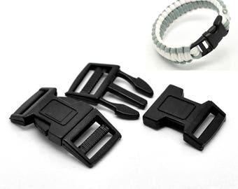 Fermoir clip, boucle attache rapide, en plastique noir, 51x26 mm, lot 5 966cc30c40b