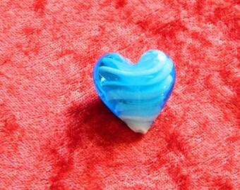 1 Pearl Heart blue lampwork glass 25 x 25 mm