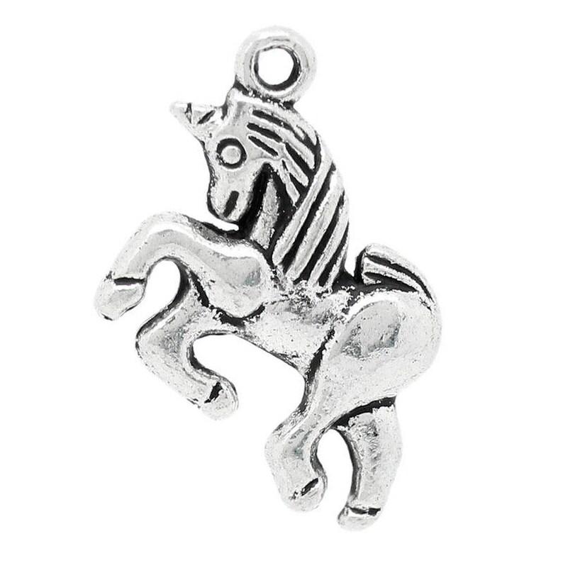 lot 5 silver metal 17-20 mm Unicorn horse charm charms