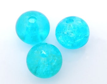 set of 10 beads 6 mm turquoise blue Crackle Glass