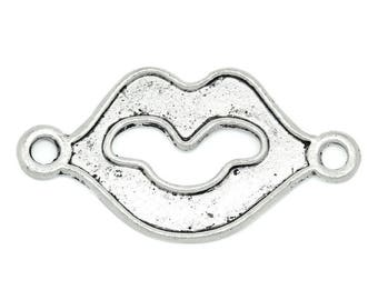 1 connector love shaped lip antiqued silver tone metal 37 * 19 mm