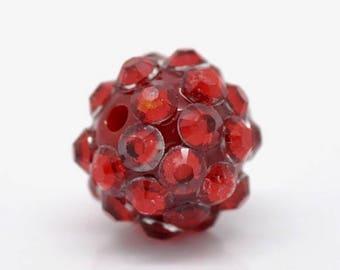 set 2 red rhinestone beads resin 12 mm