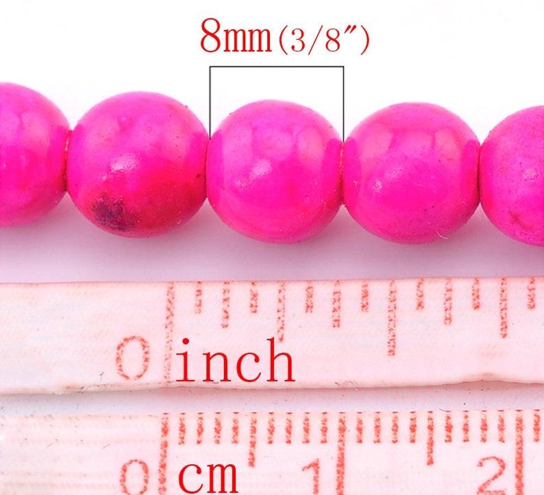 lot 10 8 mm fushia pink Round pearl in howlite