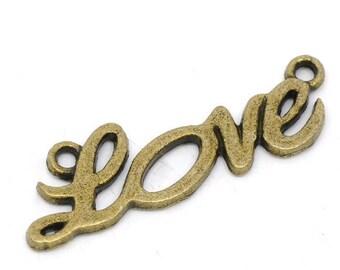 1 connector love antiqued bronze tone metal 33 * 10 mm