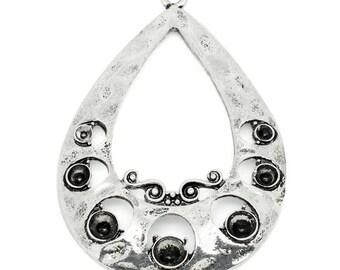 1 pendant drop silver aged metal 50 x 35 mm