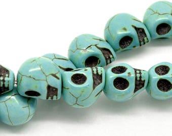 set 5 bead head blue howlite skull 12 * 10 mm