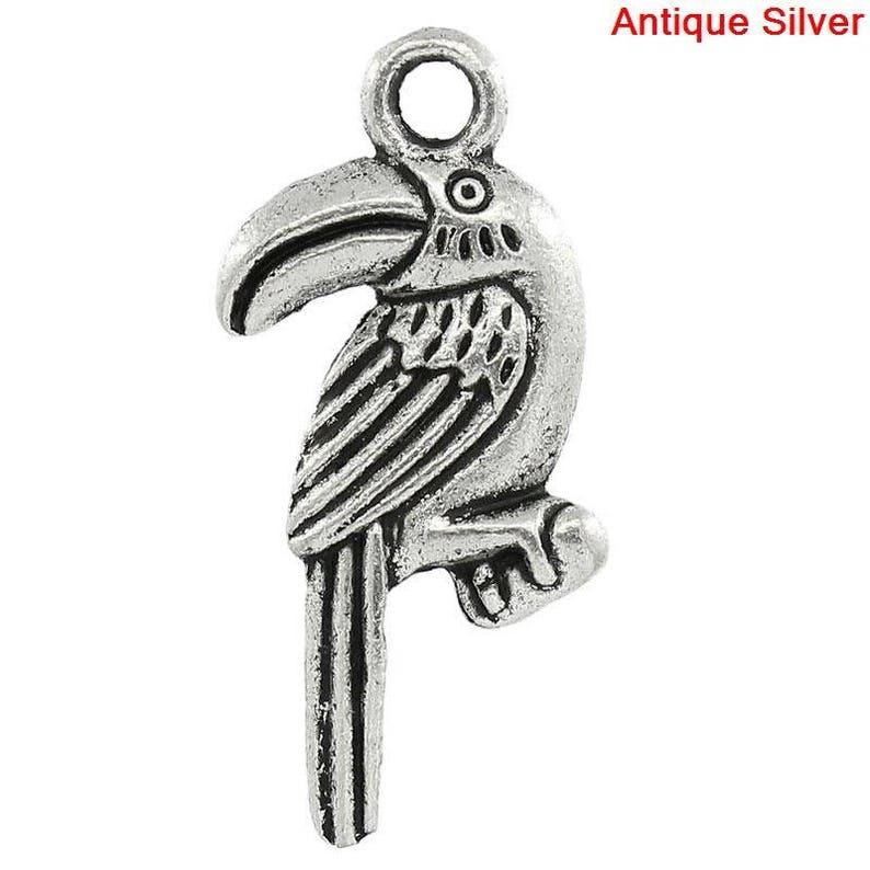 charm Toucan bird charm lot 4 25-11 mm silver metal