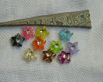 set of 30 multicolored 9 * 9 mm star beads