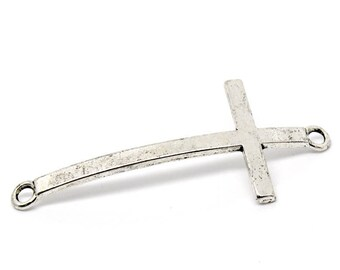 1 connector curved antique silver cross shape 54 x 24 mm