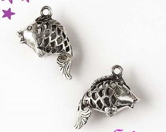 2 fish 3D 20 x 20 mm sterling silver barrel charm