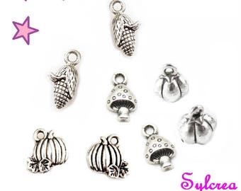 8pcs charms vegetables from 15 to 19 mm mixed tomato pumpkin corn mushroom / 4 models of different sizes in silver