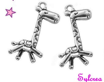 2 large charms 29 x 16 mm sterling silver 3D GIRAFFE