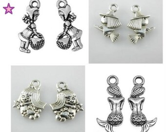 8 charms of 21-15 mm fairy, Mermaid, witch and little Red Riding Hood in silver