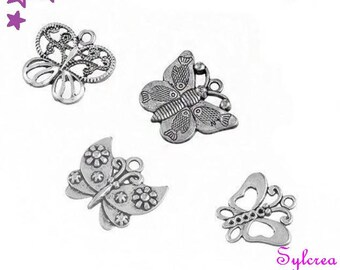 4 charms 23 21 mm Butterfly mix silver metal