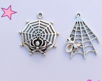 2 large charms 30 and 32 mm spider and Spider Web. Gothic pendant / silver