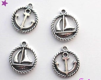 4 charms 18 mm STARFISH: boat, anchor metal silver