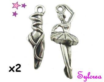 4 charms 22 mm 26 DANCE / ballerina, dancer pendants in silver metal