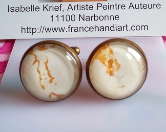 Painted artist isabelle k, cufflinks brass bronze with cabochons round glass mother-of-pearl white gold yellow, hand made in france