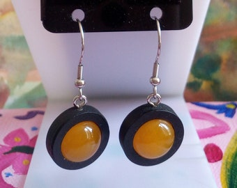 Calcite orange fine stone, earrings black wood with round cabochons 12mm, clasps hooks steel 316L, hand made in france