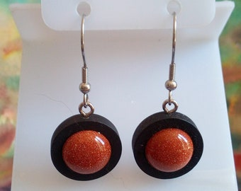 Sunstone, black wood earrings with round cabochons 12mm, 316L steel hooks, hand made in France, Christmas birthday party