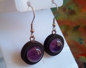 Amethyst precious fine stone, earrings black wood with round cabochons 12mm, clasps hooks steel 316L, hand made in france