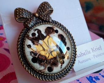 Painted by French artist, bronze brass brooch, cabochon round glass brown gold white mother-of-pearl, big knot kawaii, gift birthday christmas