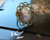 painted by French artist,adjustable bronze brass ring,cabochon oval glass, fantastic flower tale, hippie gothic woman jewel, boheme