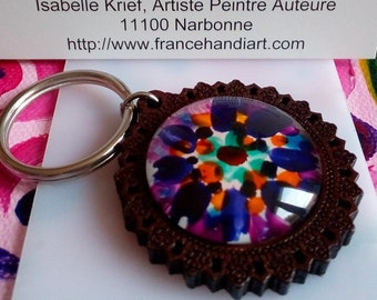 Painted artist isabelle k, key door flowered wood, ring steel and cabochon round glass painted purple orange blue white, birthday party gift