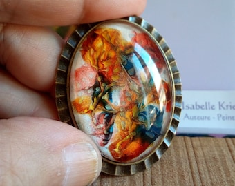 Painted by French artist, bronze brass brooch, cabochon oval glass orange blue yellow mother-of-pearl white, flowery, christmas birthday party gift
