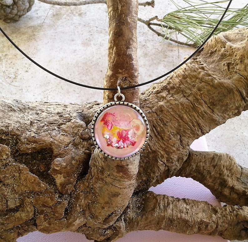 fantastic unisex jewelry painted by artist art nouveau round pendant tree of life hippie Bohemian Gothic pink white orange yellow 46